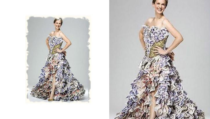свадебное платье из купюр