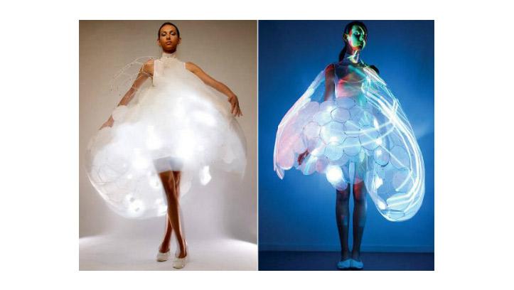 свадебное платье из перчаток и презервативов
