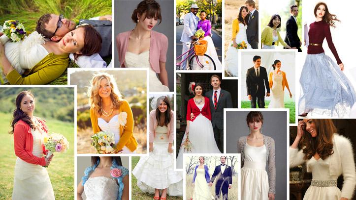 Свитер или кофта на свадьбу поверх свадебного платья
