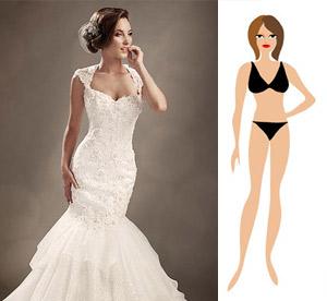 """Свадебное платье на фигуру типа """"Перевернутый треугольник"""""""